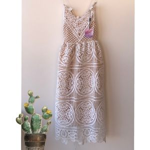 NWT Chicwish Ivory Lace Tie back dress size Small